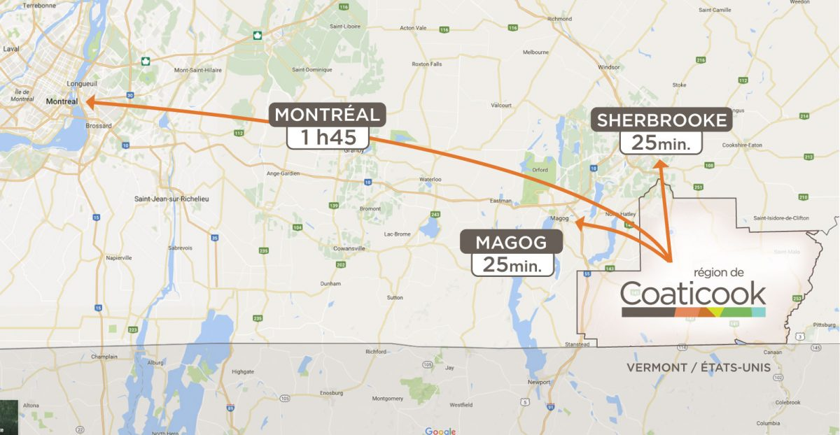 Distance entre les grands centres ubrains et la région de Coaticook